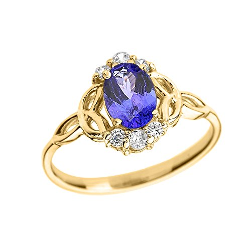 Tanzanite and Diamond 14k Yellow Gold Trinity Knot Proposal Ring(Size 12) 14k Yellow Gold Trinity Knot