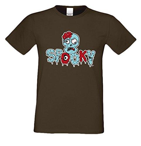 Halloween T-Shirt - Unheimlicher Spooky Zombie Shirt braun - gruseliges Motiv Shirt für Leute mit Humor