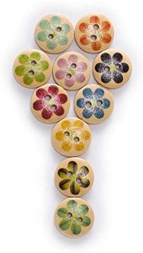Yitang キッド服縫製クラフト装飾のための手づくりボタン50pcsの6つの花びら印刷テーマラウンド木製ボタン縫製スクラップブック服ギフト工芸手仕事アクセサリー15ミリメートル (Color : Natural Base)
