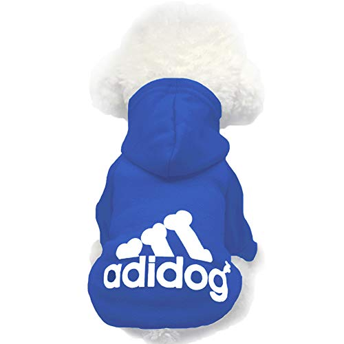 Moolecole Pet Sports Apparel Cat & Dog Cold Weather Coats Dog Hoodies Pet Sweaters (L, Sapphire Blue)