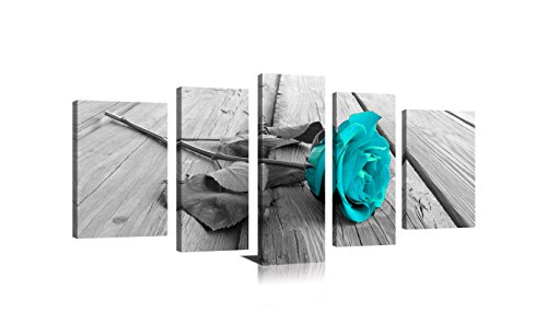 Youk-art Wall Art for Bedroom Simple Life Black and White Rose Flowers Blue Canvas Wall Art Decor 5 Pieces Framed Canvas Prints Watercolor Giclee with Black Border Ready to Hang for Home Decoration