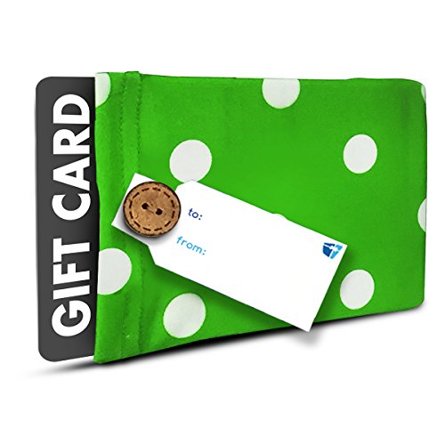 Gift Card Holder - (Set of 2) Stretchy Fabric, Reusable and Eco Friendly - Green and White Polka Dots (2 Gift Card Holders with 2 FREE Gift Tags)