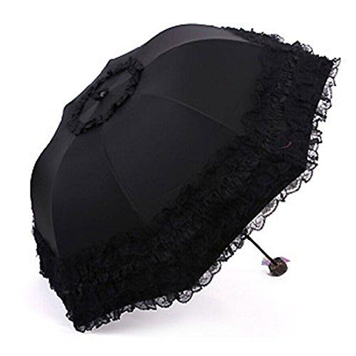 - Yamix Sunshade Umbrella, Dome Princess Lace Sun-rain Umbrella Twice Folding Sun UV Protection Parasol - Black