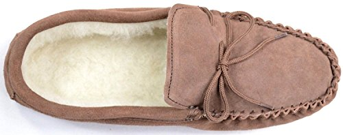 Mens Light Brown Suede Moccasin Slippers with Wool Lining and Suede Sole. Size 7 CuoRx