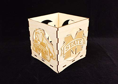 Mississippi State engraved candle holder-Unfinished wooden candle box-gift box-centerpiece-college candle holder-Bulldog candle -