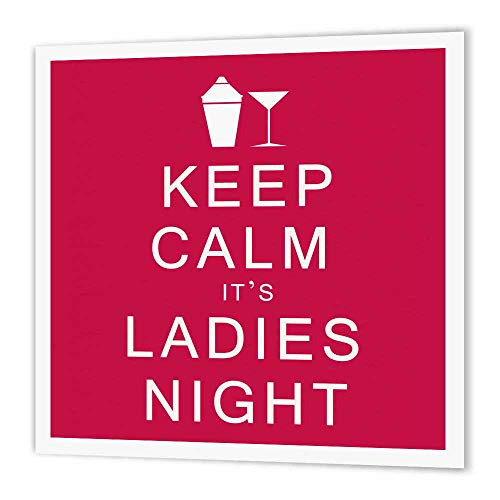 3dRose ht_159613_3 Keep Calm it's Ladies Night, Pink, Martinis, Girls Night Out Iron on Heat Transfer for White Material, 10 by 10-Inch