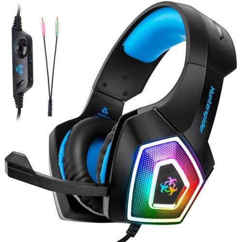 Price comparison product image Pro Gaming Headset Headphone for Laptop PlayStation4 / PS4 Slim / PS4 Pro / Xbox ONE S / X 3.5mm LED Mic Hunterspider V1 Wired Gaming Headset 7 Color LED Lights