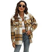 Qiaomai Womens Plaid Long Sleeve Lapel Button Short Pocketed Flannel Shacket Overshirt