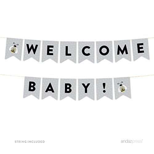 Bunting Bumble Bee - Andaz Press Mama to Bee Bumblebee Gender Neutral Baby Shower Collection, Hanging Pennant Party Banner with String, Welcome Baby!, 5-Feet, 1-Set, Decor Paper Decorations