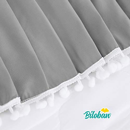"""Grey Crib Skirt Pleated with White Lovely Pompoms, Bedding Dust Ruffle for Baby Boys, 14"""" Drop, Fit All Standard Crib Bed, Fading Resistant, Microfiber"""