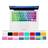 "HRH ARABIC Language Silicone Keyboard Cover Skin for MacBook Air 13"" MacBook Pro with or without Retina Display 13""15"" 17"" Apple Wireless Bluetooth Keyboard MC184LL/B (US Version) Ultra Thin Keyboard Skin Arabic/English-Rainbow"