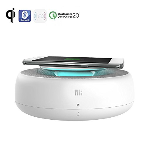 2-in-1 Qi Fast Wireless Charger, Bluetooth Stereo Speakers, QC2.0 USB Charging Port Audio Docking Station Pad for iPhone 8/8 Plus/X, Samsung Galaxy S8 S7 S6, Note5 Plus Edge and Qi-enabled Smartphone