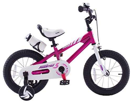 Royalbaby Freestyle Kid's Bike, 16 inch with Training Wheels and Kickstand, Fuschia, Gift for Boys and Girls