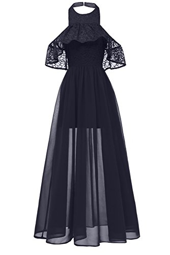 MILANO BRIDE Women's Elegant Lace Cocktail Prom Dress Illusion Halter Pary Formal Dress-S-Navy Blue