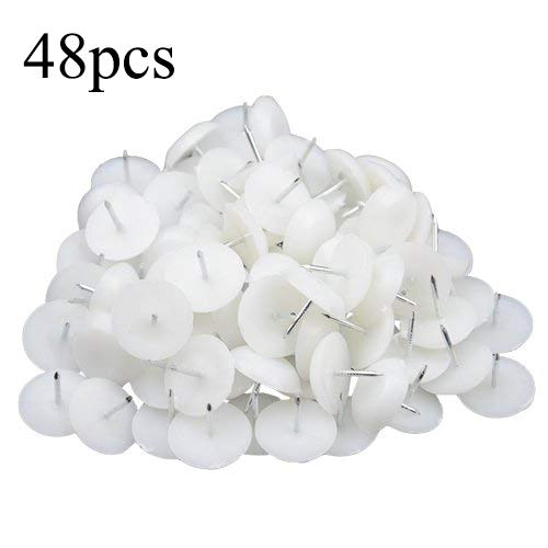 TOVOT 48PCS Plastic Furniture Chair Table Leg Feet  Nail-On Tack Glide Diameter 22 mm Protector Pad Glide Nails White (Chair Leg Tacks)