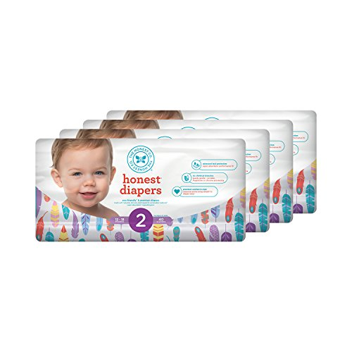 Honest Baby Diapers, Painted Feathers, Size 2, 160 Count