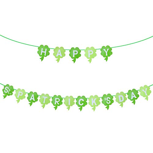 Banners, Streamers & Confetti - 3 Meters Irish Green Shamrock Happy St.patrick 39 S Day Paper Banners Four Leaf Clover Garland - Streamers Banners Streamers Confetti Geranium Perennial I ()