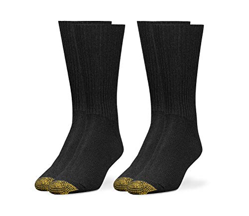 Gold Toes Mens Premium Dress Trouser Work Multi Pack Socks (Acrylic Rib Crew 2 Pack- Black - Shoe Size 6-12.5)