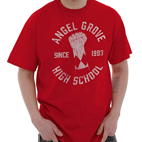 Brisco Brands Angel Grove School Mighty Morphin Retro TV T Red (Power Rangers Time Force Trust And Triumph)