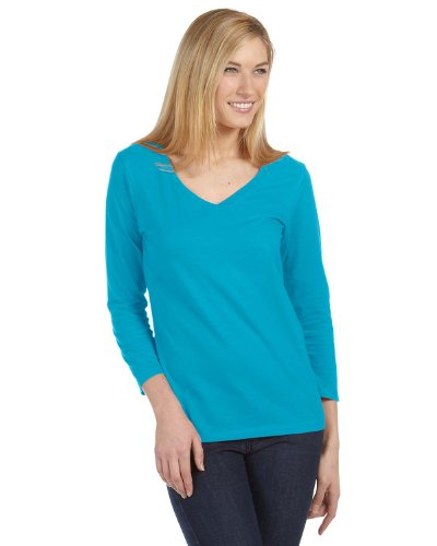 Bella Canvas Missy Jersey 3/4-Sleeve V-Neck T-Shirt - TURQUOISE - L
