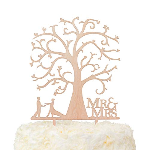 LOVENJOY Gift Box Pack Mr and Mrs Dancing Bride and Groom Tree Silhouette Rustic Wedding Cake Toppers Wood (5-inch)
