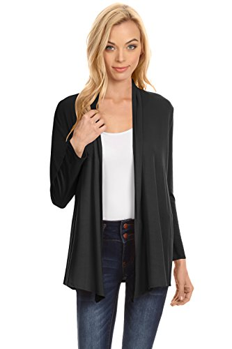 Simlu Black Cardigans for Women, Black Cardigan Plus Size and Reg, Black Lightweight Sweater Cardigan, Medium