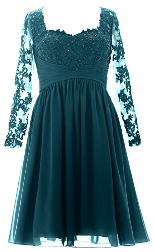 MACloth Women Midi Evening Formal Gown Long Sleeves Lace Mother of Bride Dress Teal Green Zu5hmOkR