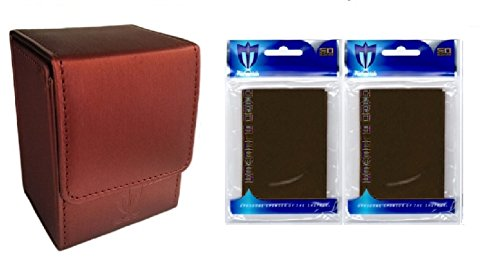 HOT CHOCOLATE COMBO- RED Deluxe Leatherette Deck Case plus 2 50ct Pks (100) BROWN GLOSS Sleeves for Collectable Gaming Cards like Magic The Gathering MTG, FORCE OF WILL , & More. Magnetic Closure BOX.