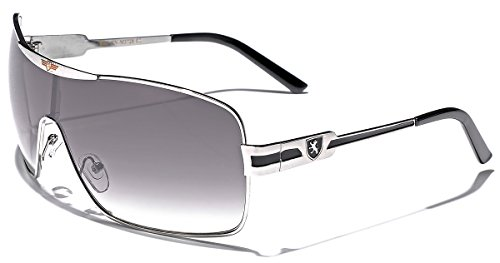 Khan Fashion Mens Square Aviator Style Sunglasses Silver Black Sport Shades