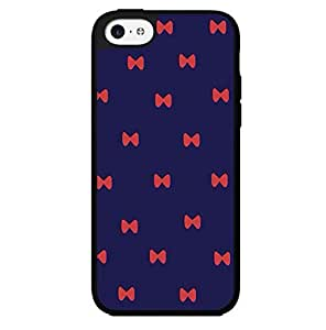 Cute Dark Blue Background with Red Bows Hard Snap on Phone Case (iPhone 5c) Designed by HnW Accessories