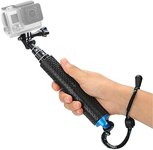 "Foretoo Selfie Stick,19""Waterproof Hand Grip Adjustable Extension Monopod Pole Compatible with Gopro Hero 7 6 5 4 2 1 AKASO, Xiaomi Yi,SJCAM SJ4000 SJ5000 SJ6000 (with Wrist Strap and Screw)"