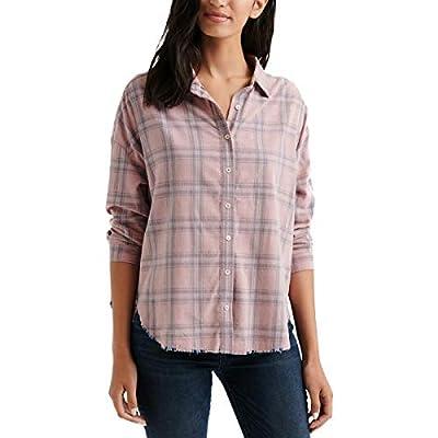 Lucky Brand Women's Button Up Plaid Multi Corduroy Shirt