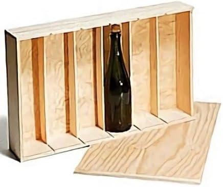 Caja madera para 6 botellas de vino o cava de madera sin tratar, tapa deslizante Medidas utiles inte