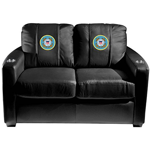 XZipit Armed Forces Silver Loveseat with Coast Guard Insignia Logo Panel, Black