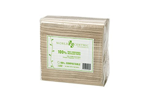 World Centric's 100% Biodegradable, 100% Compostable 100% PCW 2-PLY Dinner Napkins (5 Packs of 150 Napkins) (Recycled Napkin Dinner)