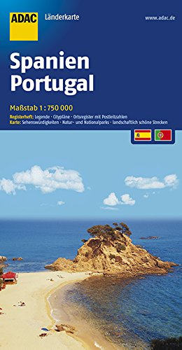 ADAC Länderkarte Spanien, Portugal 1:750.000 (ADAC Länderkarten) Broschiert – 17. September 2018 ADAC Kartografie ADAC Länderkarte Spanien 3826419669 Karten / Stadtpläne / Europa