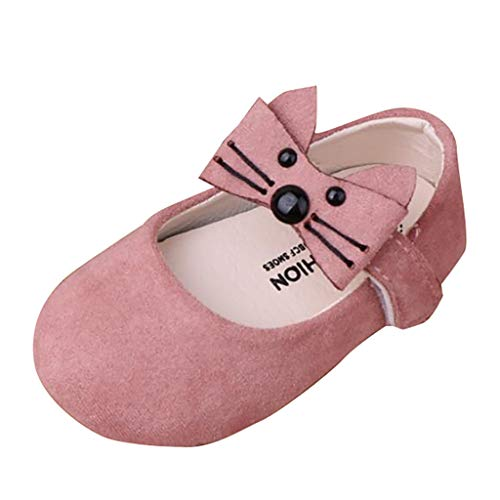 Voberry Baby and Toddler Girls Mary Jane Flats with Cute Bowknot Non-Slip Toddler First Walkers Princess Dress Shoes Pink
