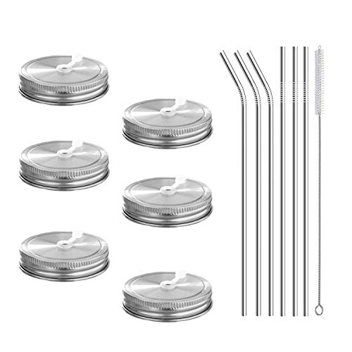 6pcs Pack 18/8 Stainless Steel Regular Mouth Mason Jar Lids with Straw Hole, Including 6pcs Stainless Steel Straws and 1pcs Cleaning Brush, Compatible with Ball & Kerr Mason Jars ()
