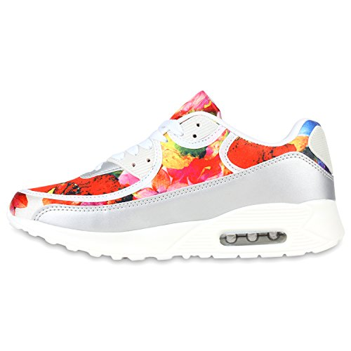 Stiefelparadies Damen Herren Unisex Sportschuhe Runners Sneakers Laufschuhe Trendfarben Flandell Weiss Silber