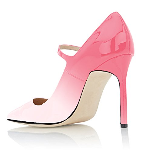 Pointed Heel High Ankle Toe Buckle peach Jane Pink Mary 100mm Shoes Closure Women's Eldof Strap Pumps xtFwETqIx