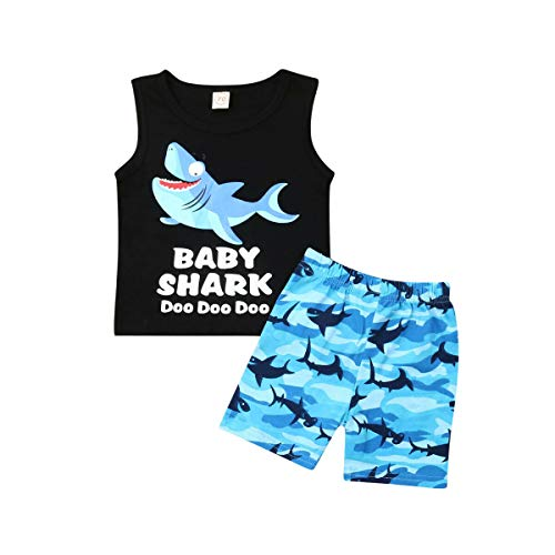 - 2pcs Toddler Baby Boys Shark Short Sets Cotton Sleeveless Vest Top Short Pants Summer Outfit (Blue, 18-24 Months)