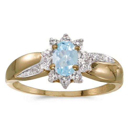 0.30 Carat ctw 14k Gold Oval Aqua Aquamarine Solitaire & Halo Diamond Fashion Swirl Cocktail Ring - Yellow-gold, Size (14k Gold Diamond Swirl Ring)