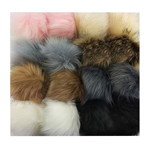 Dofilachy 18pcs Faux Pom Pom Ball DIY Pom Poms for Hats Shoes Scarves Bag Pompoms Keychain Knitting Hat -