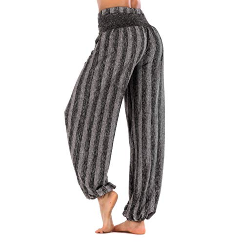 ♥Women's High Waist Yoga Pants, Clearance-Ladies Summer Striped Workout Fitness Tummy Control Pocket Bloom Trousers ()