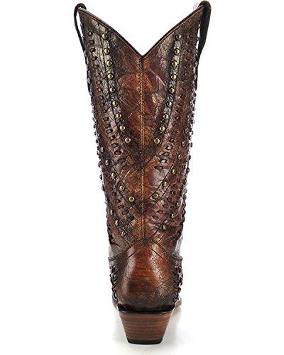 Corral Dames Bezaaid Geweven Cowgirl Laars Knip Toe Teen - C3004 Cognac