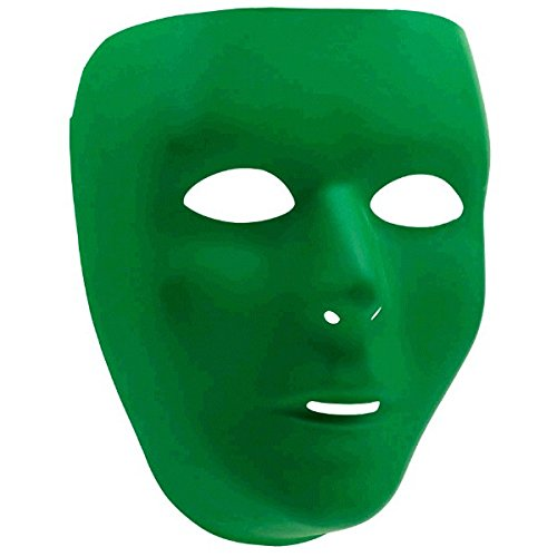 Amscan 397286.03 Mystifying Masquerade Party Accessory, One Size, 12ct Perfect Team Spirit Full Face Plastic Mask, Green -
