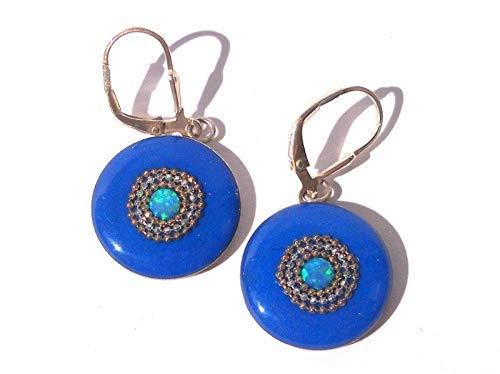 Sky Blue Opalite Earring Bohemian Earrings 925 Silver Plated Jewellery 2.12 Inches Handmade Earrings
