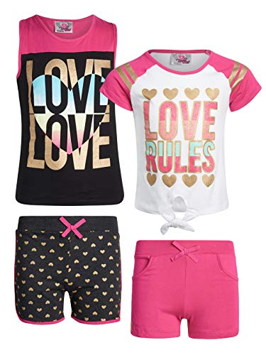 French Terry Short Set - Real Love Girl\'s 4-Piece French Terry Short Sets (Love, 10/12)'