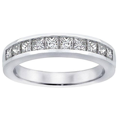 1.00 CT TW Channel Set Princess Cut Diamond Anniversary Wedding Ring in 14k White Gold - Size 5.5 (Channel Set Tw)