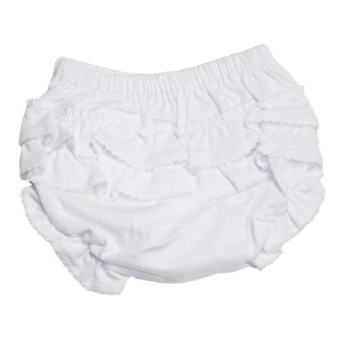 134 Cover Cotton (Kissy Kissy - Basic Diaper Cover with Ruffle - White-12-18mos)